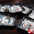 九谷焼 豆皿 角皿セット 古九谷風花鳥絵変り(WAZAHONPO-50099)