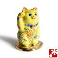 九谷焼 招き猫 置物 小判乗り招き猫 黄盛(右手・高 約10cm)(w6-1482)