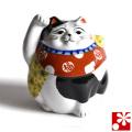 九谷焼 招き猫 置物 青九谷(右手・高 約12cm)(w6-1491)