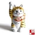 九谷焼 招き猫 置物 金釉彩(右手・高 約14cm)(w6-1492)