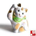 九谷焼 招き猫 置物 金ぶち盛(右手・高 約10cm)(w6-1493)