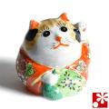 九谷焼 招き猫 置物 毛長三毛(左手・高 約11.5cm)(w6-1500)