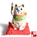 九谷焼 招き猫 置物 金ブチ盛 座布団付(右手・高 約14.5cm)(w6-1514)