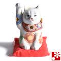 九谷焼 招き猫 置物 白盛 座布団付(右手・高 約16cm)(w6-1519)