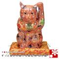 九谷焼 特大招き猫 置物 盛 座布団付(左手・高 約37cm)(w6-1538)