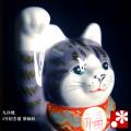招き猫(右手) 紫釉彩(WAZAHONPO-41705)