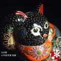 招き猫(右手)横座り 黒盛(WAZAHONPO-41706)