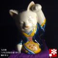 芸者招き猫(左手) 青九谷 糠川孝之(WAZAHONPO-41726)