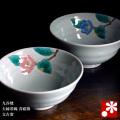 夫婦茶碗 青磁椿 文吉窯(WAZAHONPO-50491)