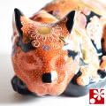 九谷焼 眠り猫 置物 盛(全長28.5cm)(WAZAHONPO-Kome-01)