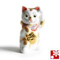 九谷焼 小判 招き猫 置物 金ぶち(Kome-10)
