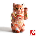 九谷焼 招き猫 オールドタイプ 置物 茶盛(Kome-15)