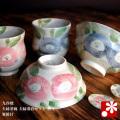 九谷焼 夫婦茶碗 夫婦湯呑セット 椿文(箸置付)(WAZAHONPO-50531)