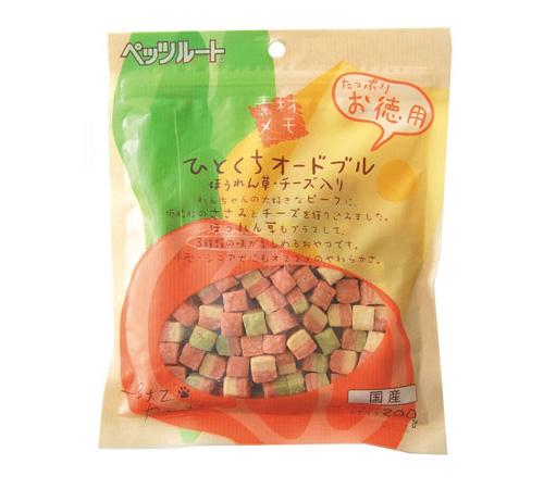 ペッツルート 素材メモ ひとくちオードブル ほうれん草・チーズ入り お徳用 200g