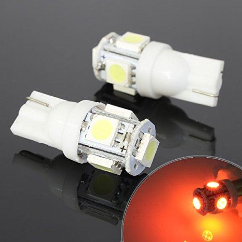 5連 SMD/LEDバルブ T10 オレンジ ウェッジ球 2個セット