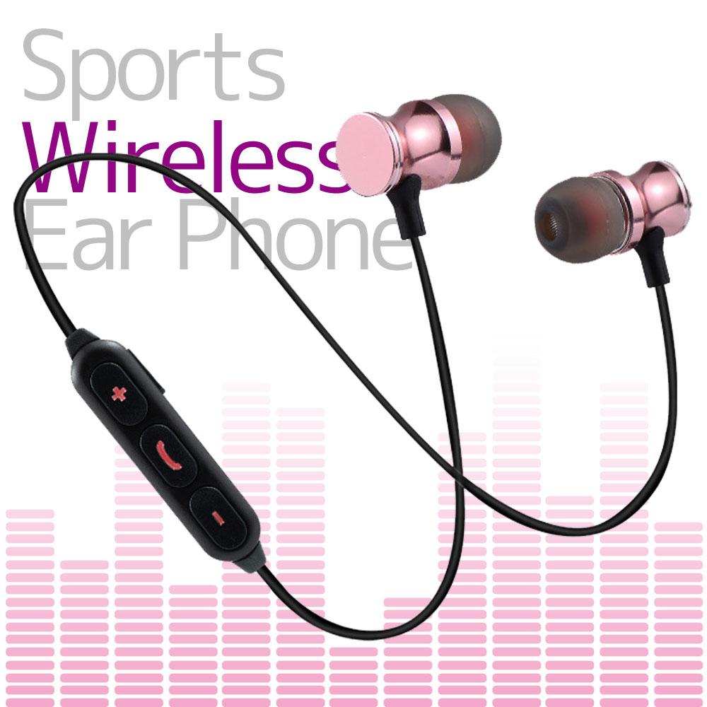 イヤホン カナル型 左右一体型 スポーツタイプ ワイヤレスイヤホン 磁石搭載 Bluetooth 通話 iPhone Android ピンク PINK