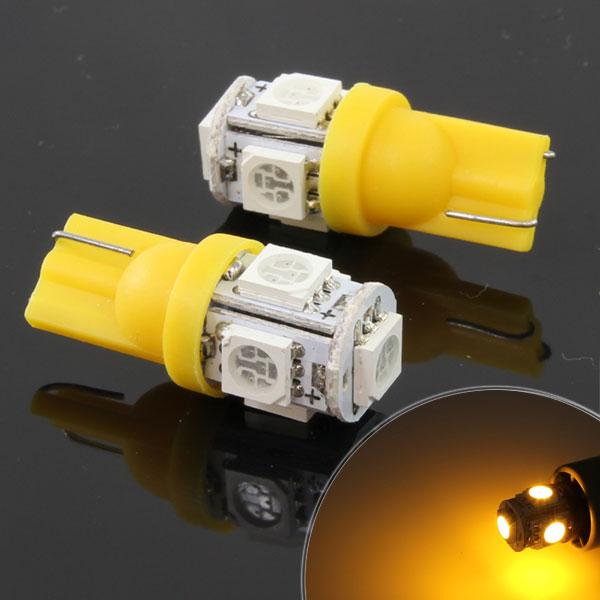 5連 SMD/LEDバルブ T10 イエロー ウェッジ球 2個セット
