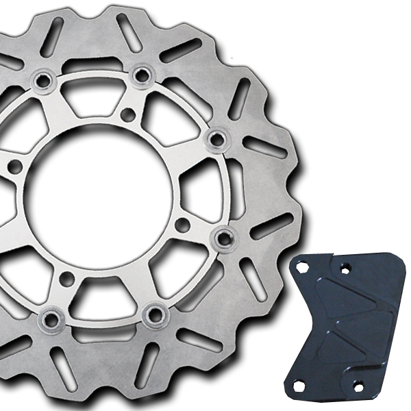 フォルツァX/Z用(MF08):大口径ウェーブフローティング ブレーキディスクローター キャリパーサポート付/シルバー
