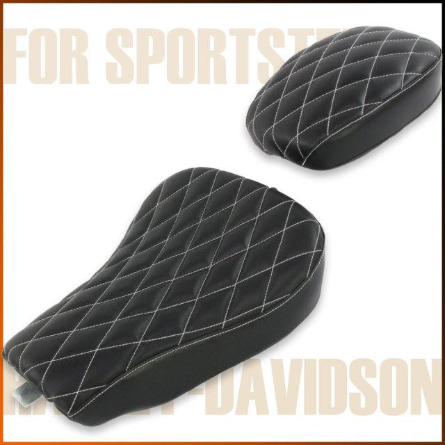 ハーレー スポーツスター シート ブラック ダイヤモンド ステッチ フロント/リアセット XL883 XL1200