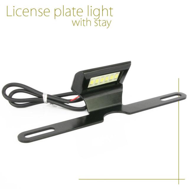 汎用 LEDナンバー灯 ナンバーホルダー付き アルミ製 ブラック ナンバーステー ライセンスホルダー バイク用