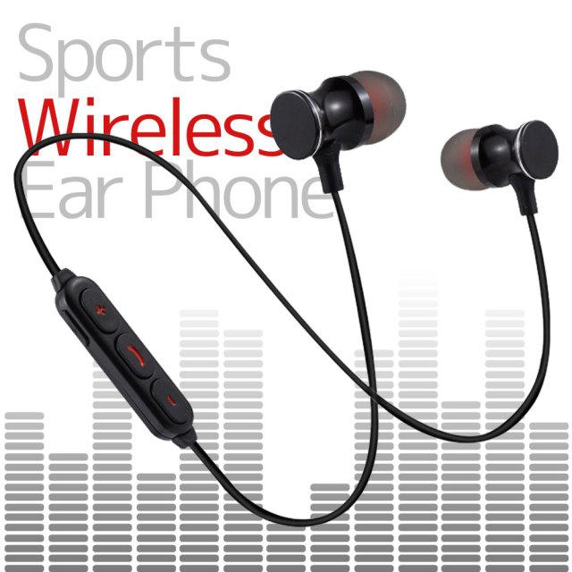イヤホン カナル型 左右一体型 スポーツタイプ ワイヤレスイヤホン 磁石搭載 Bluetooth 通話 iPhone Android ブラック BLACK