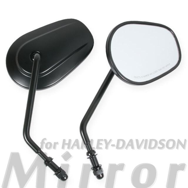 ハーレーダビッドソン 純正タイプミラー マットブラック オーバルミラー ショートステー バックミラー 純正スイッチボックス対応 左右セット つや消しブラック