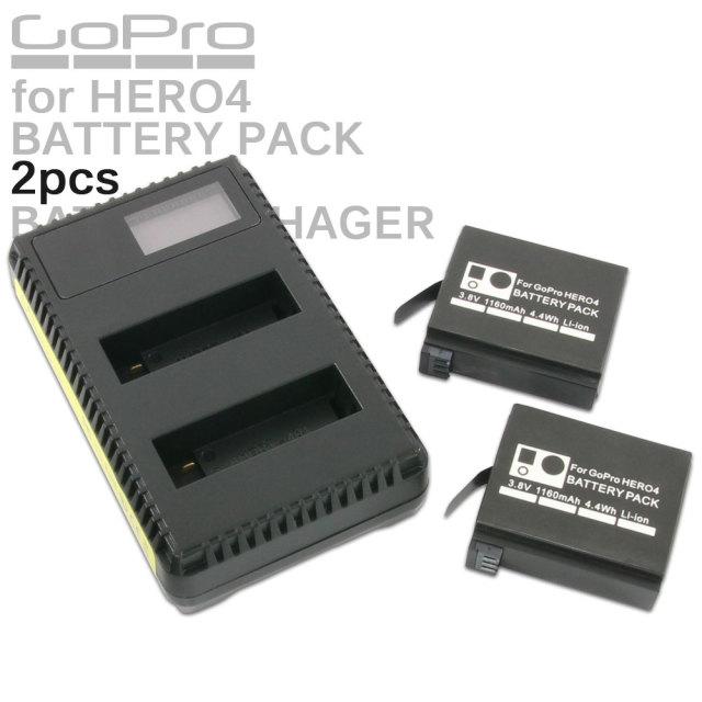 GoPro HERO4用 リチウムイオン バッテリーパック 2個 USB充電器 セット 互換 AHDBT-401