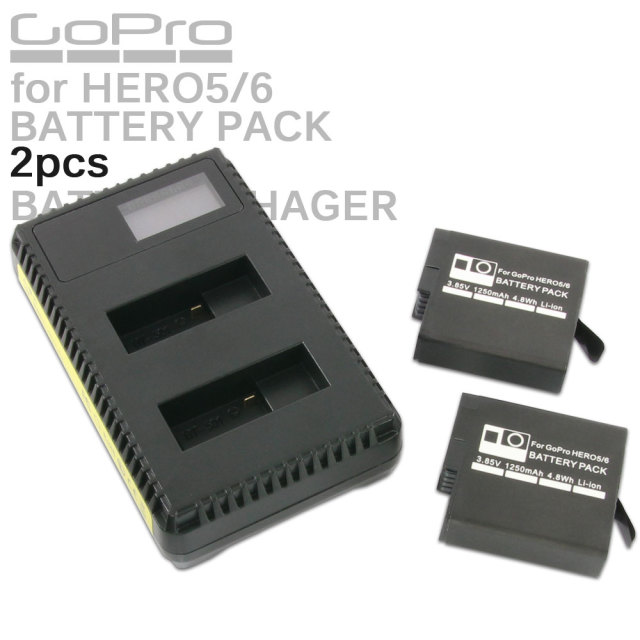 GoPro HERO5 HERO6用 リチウムイオン バッテリーパック 2個 USB充電器 セット 互換 AHDBT-501 AHDBT-601