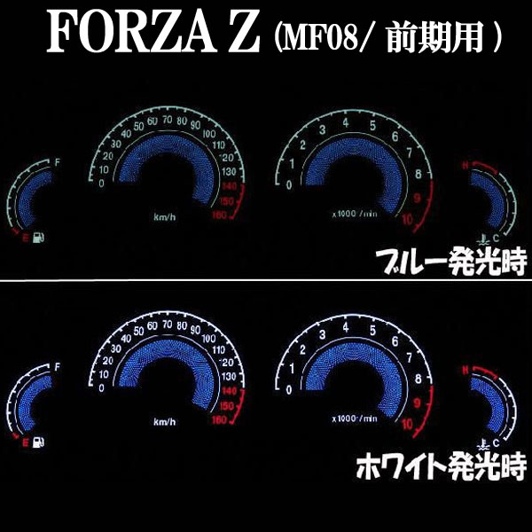 フォルツァZ(MF08)用:ELメーターパネル ブラックパネル ホワイトorブルー発光