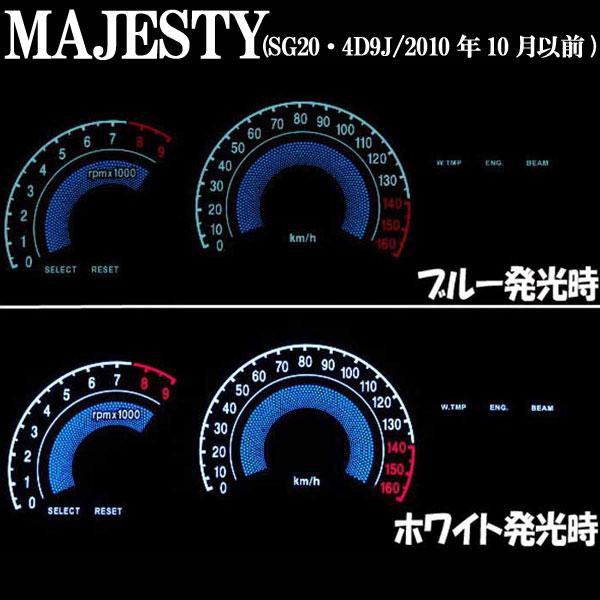 マジェスティ(SG20/4D9J)用:ELメーターパネル ブラックパネル ホワイトorブルー発光