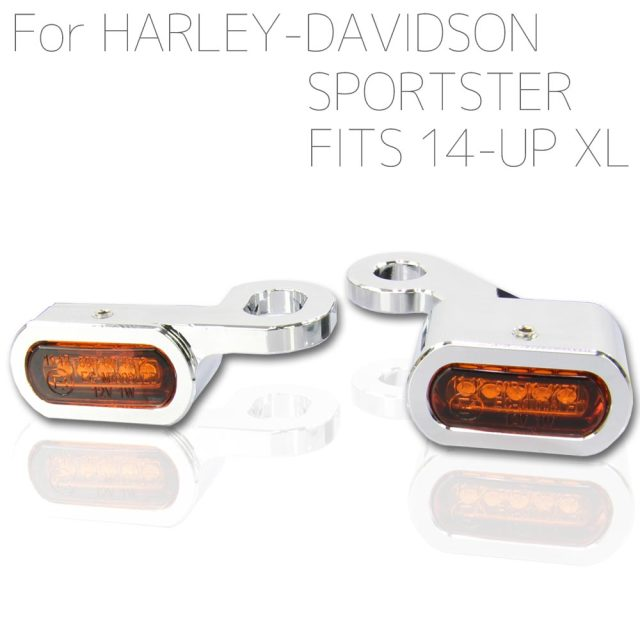 ハーレー スポーツスター 2014年以降適合 LED リロケーション マイクロミニウインカー クロームボディ アンバーレンズ XL883 XL1200