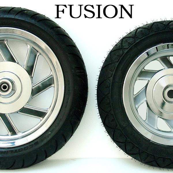 ★送料無料 フュージョン用(MF02):メッキアルミホイール/扁平タイヤセット