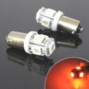 5連 SMD/LEDバルブ BA9S G14 オレンジ 口金 2個セット