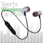 イヤホン カナル型 左右一体型 スポーツタイプ ワイヤレスイヤホン 磁石搭載 Bluetooth 通話 iPhone Android シルバー SILVER