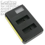 GoPro HERO5 HERO6用 USB デュアルチャージャー バッテリー充電器 互換 AHDBT-501 AHDBT-601 充電池 ディスプレイ内蔵