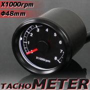 バイク用 電気式 x1000rpm LEDタコメーター 48mm ブラックボディ/ブラックパネル