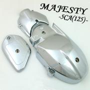 マジェスティ125/マジェスティ125FI用(5CA):メッキクランクプーリーケースカバー 3点セット