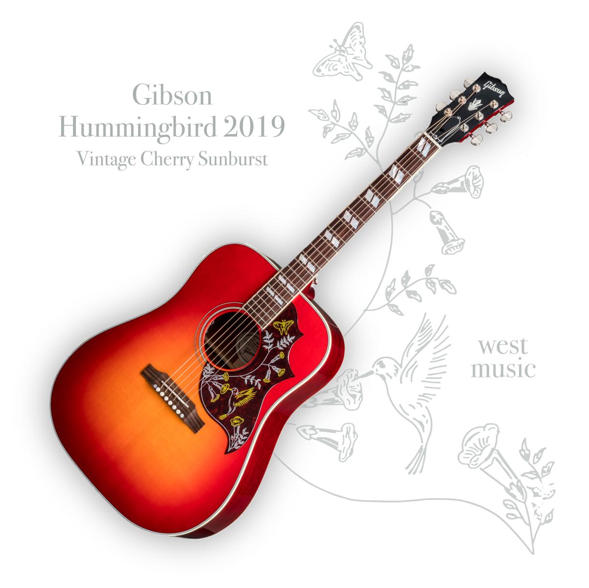 【送料無料】Gibson Hummingbird 2019 VS (Vintage Cherry Sunburst) ギブソン ハミングバード ヴィンテージチェリーサンバースト【即納可能♪】