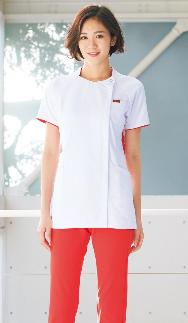 【FOLK】7032OL【ジップスクラブ・白衣・半袖上衣】☆2015年新作商品☆