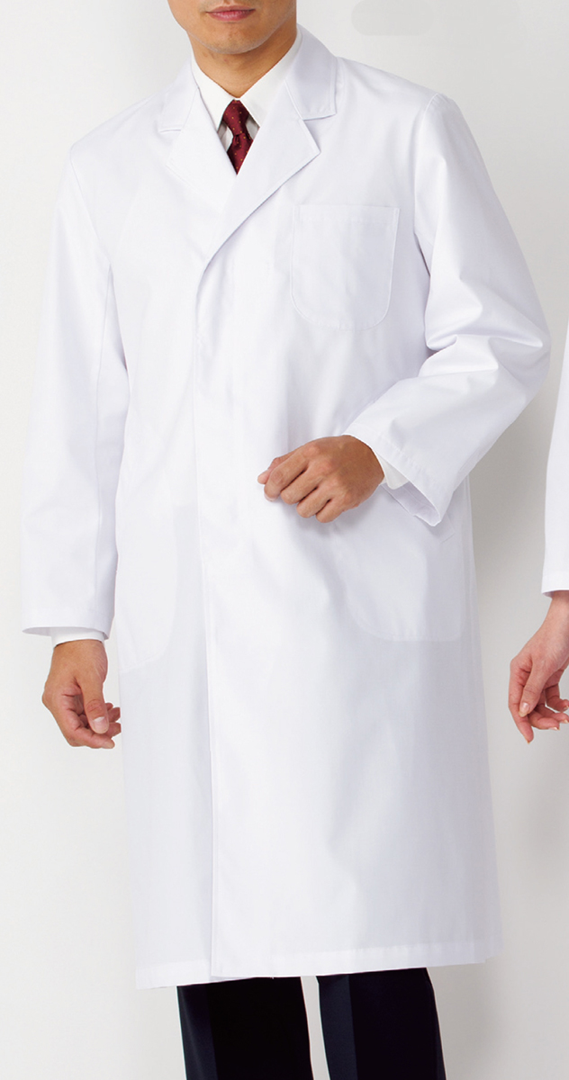 【KAZEN(旧アプロン)】110-70【男性用シングルドクターコート・S型診察衣・白衣・長袖・メンズ】