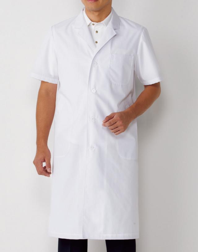 【KAZEN(旧アプロン)】112-30【男性用シングルドクターコート・S型診察衣・白衣・半袖・メンズ】