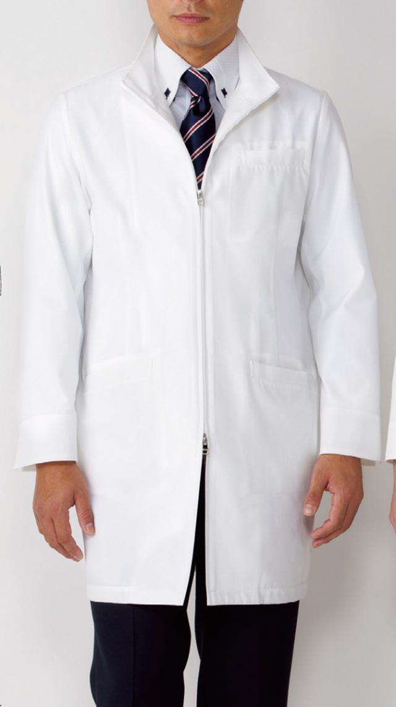 【KAZEN(旧アプロン)】113-90【男性用ジップアップハーフコート・診察衣・白衣・メンズ】