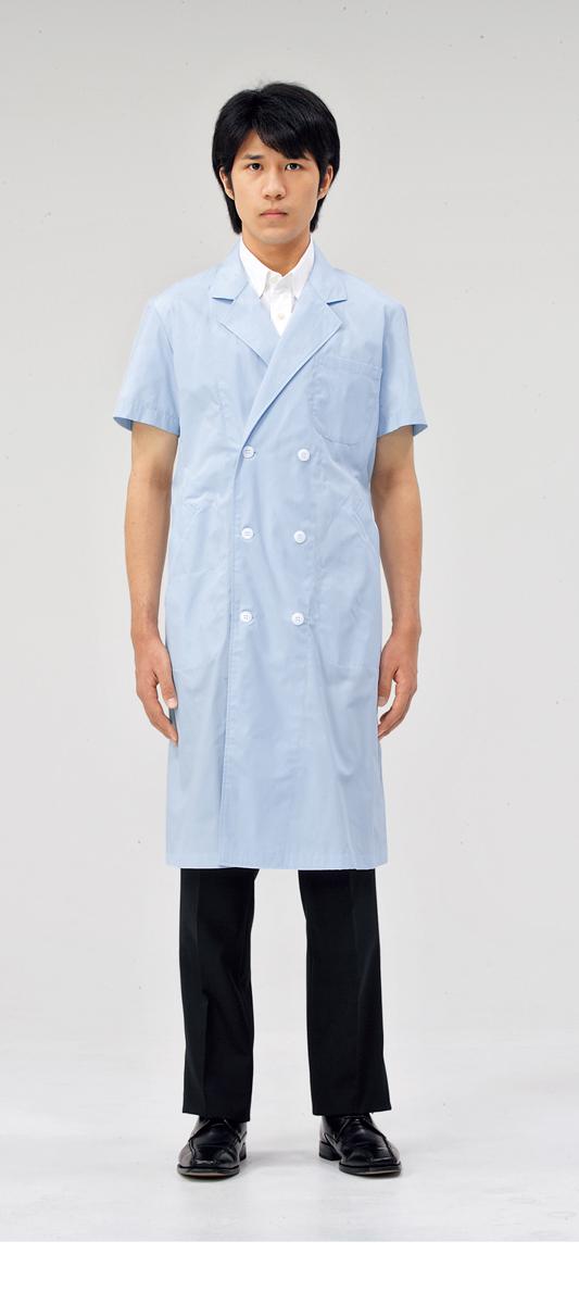 【モンブラン】51-614【ドクターコート(メンズ)・半袖白衣・男子診察衣】