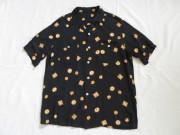50'S 和柄ブラックレーヨンシャツ