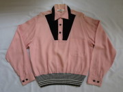 50'S CAMPUS PinkXBlackリブシャツ