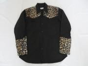 50'S Japan Made レオパード切り替えブラックコットンシャツ