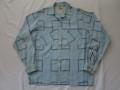50'S Light blueXBlack レーヨンシャツ