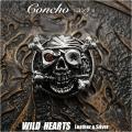クリックポストのみ送料無料! シルバーパイレーツスカルコンチョ シルバー925 スカル 髑髏 Silver925 Concho Pirate Skull Concho Skull with Rose WILD HEARTS leather&silver (ID con14t2)