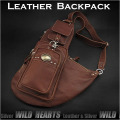 レザー ボディバッグ ワンショルダーバッグ ショルダーバッグ 本革/牛革 リュック 斜めがけバッグ ブラウン/タン Genuine Leather Backpack Shoulder Sling Bag Brown/Tan  (ID bb2112t21)