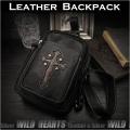 ワンショルダーバッグ ボディバッグ ショルダーバッグ ディバッグ レザー/牛革 ブラック/黒 Genuine Leather Bag Backpack or Shoulder Sling Bag  WILD HEARTS Leather&Silver(ID bb3441t22)